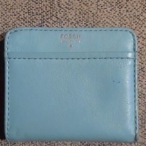 Fossil Tessa Teal Leather Bifold Mini Wallet